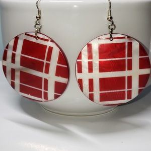 Jewelry - ACRYLIC RED & WHITE ROUND EARRINGS